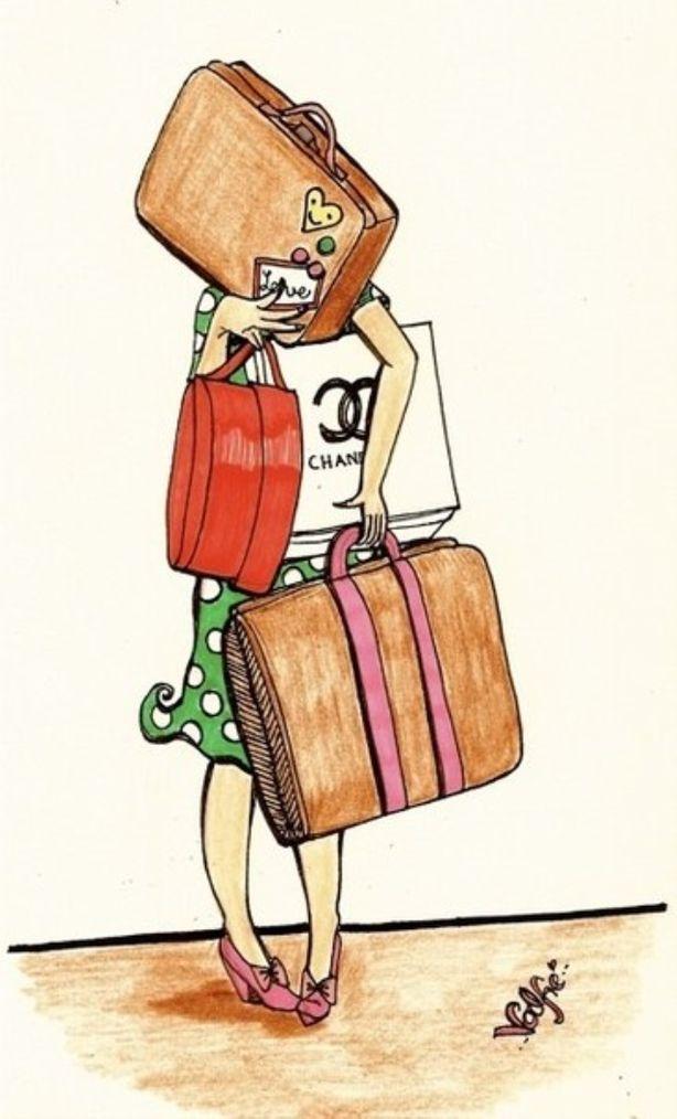 Открытки, смешные картинки девушка чемодан