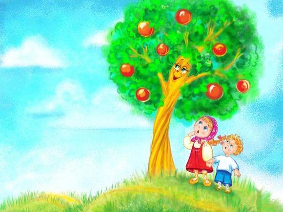рисунок яблоньки из сказки гуси после смерти матери