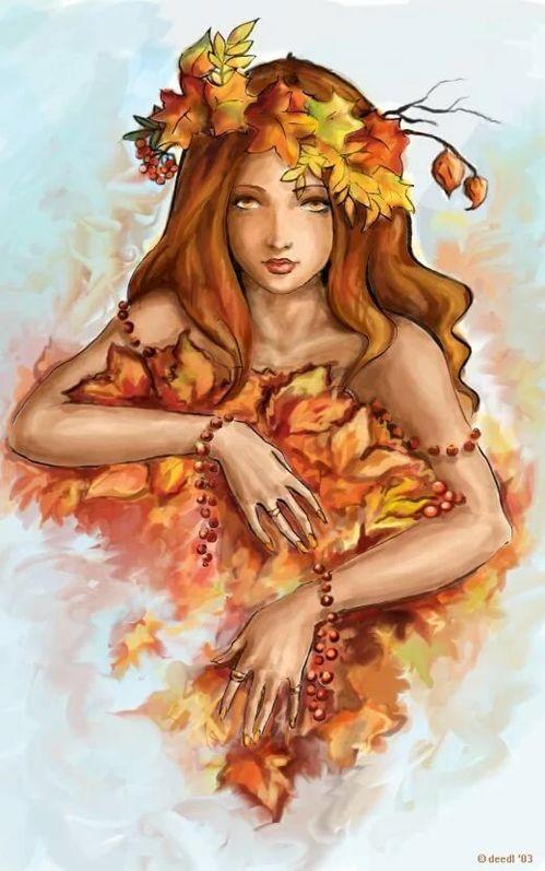 Девушка осень картинки нарисованные