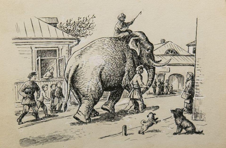 Рисунок к басне слон и моська карандашом