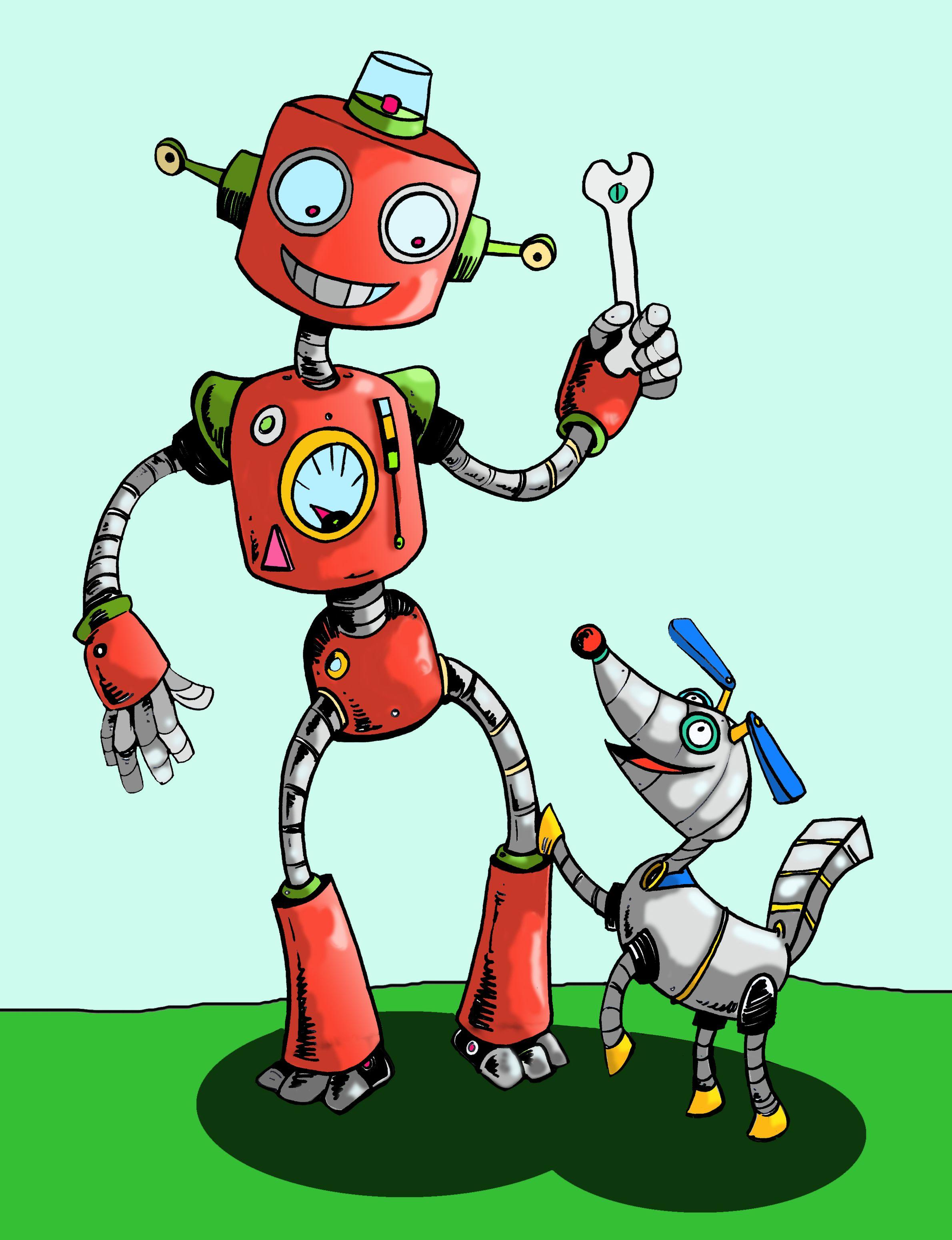Смешной робот рисунок