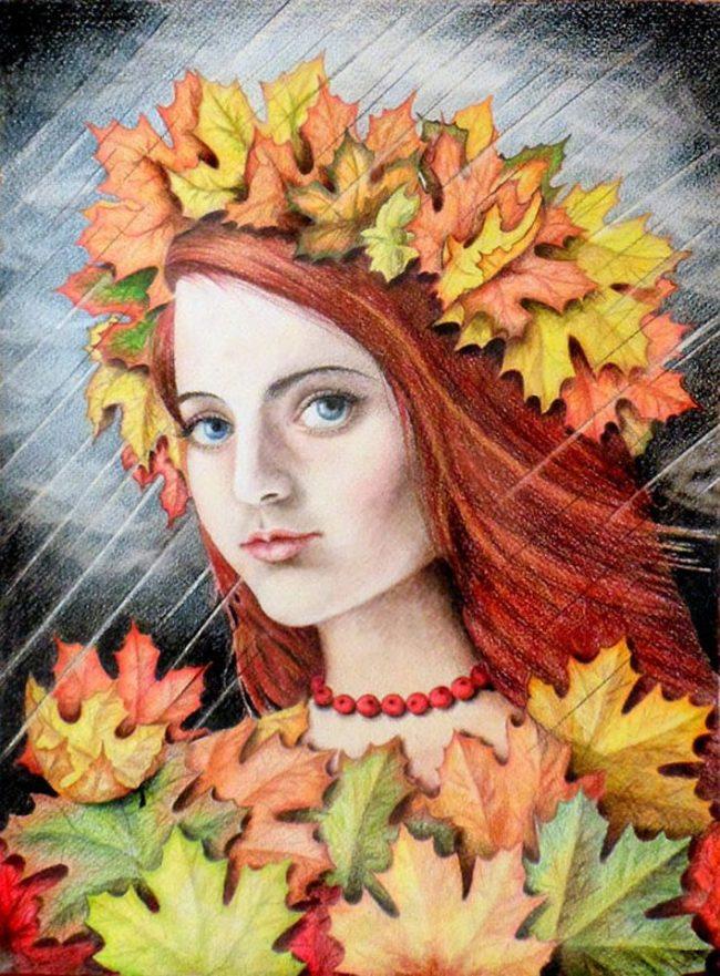 Картинки Королева-Осень (42 фото)  Девушка Осень Рисунок