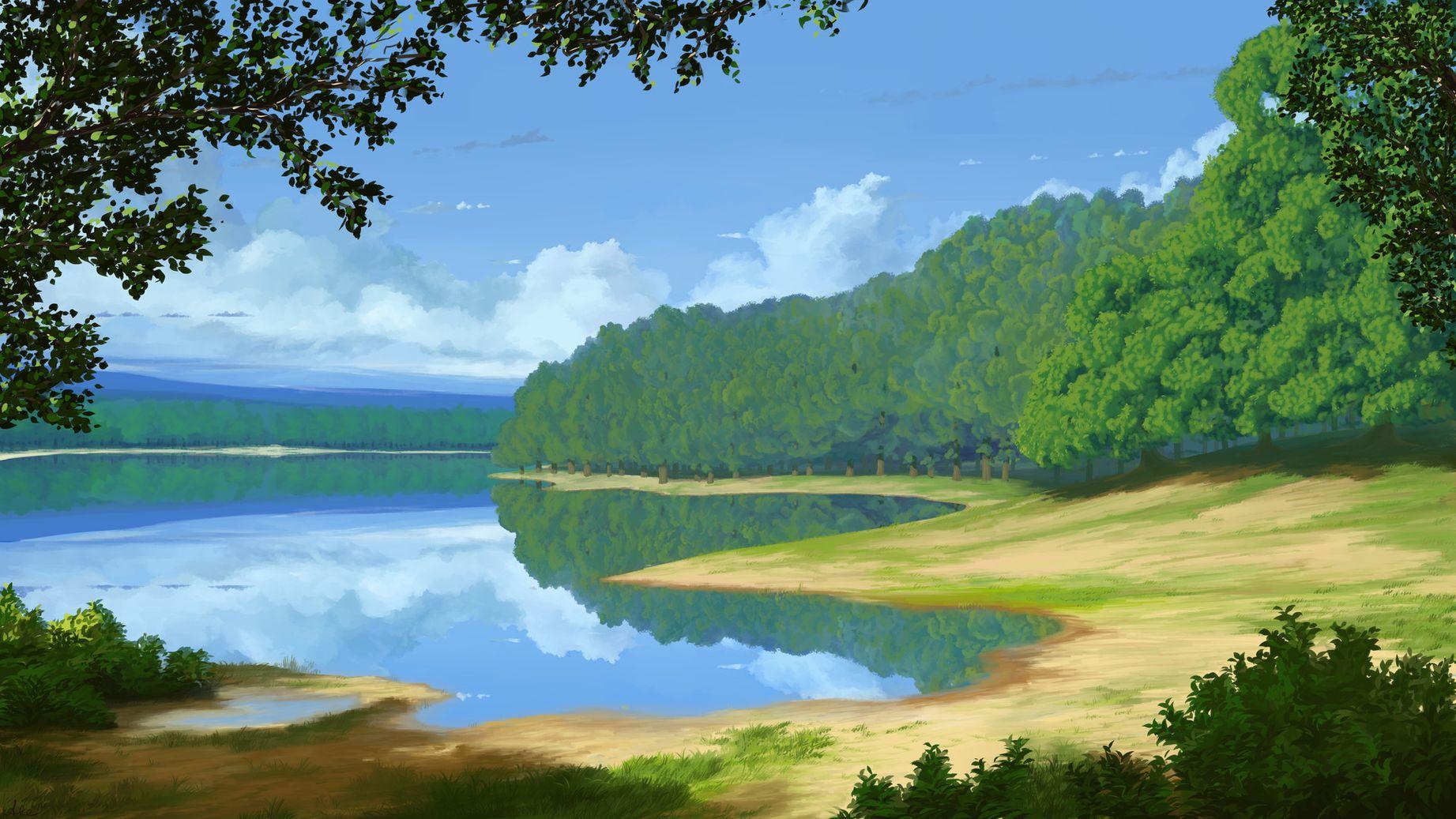 беллуччи картинка мультяшного озера люди стоят рядом