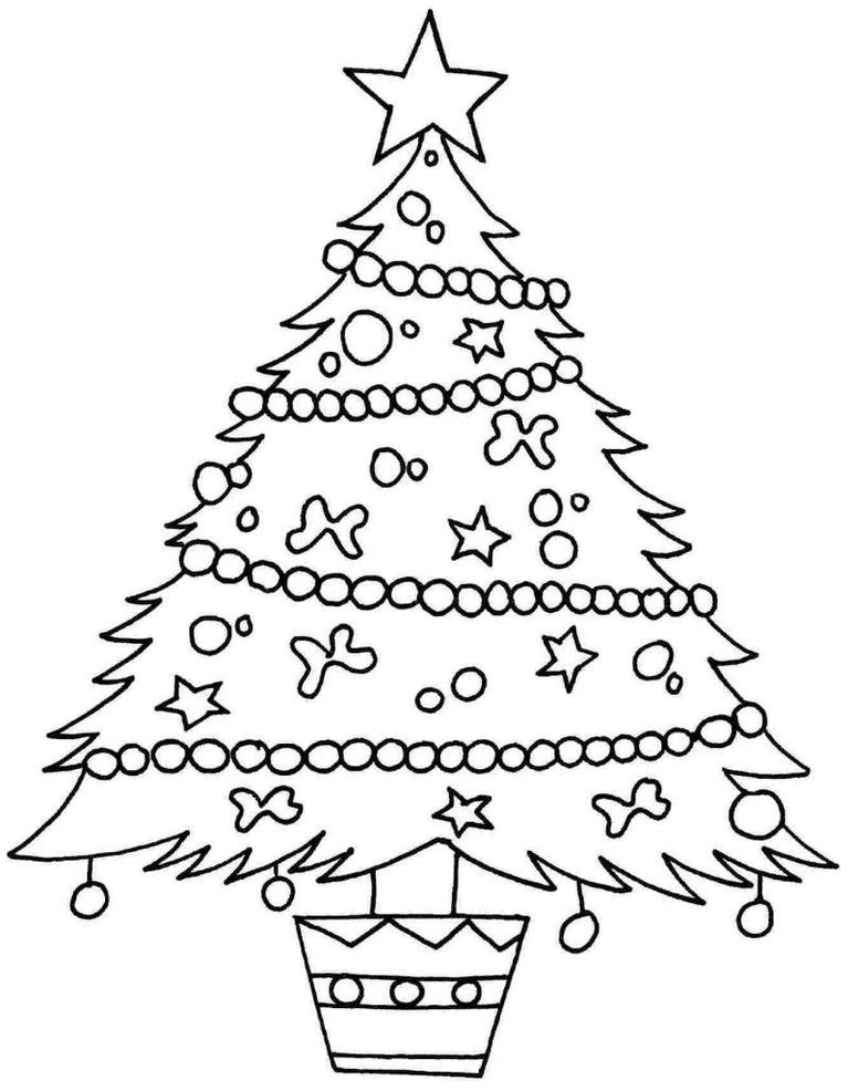 Картинки для срисовки новогодняя елка